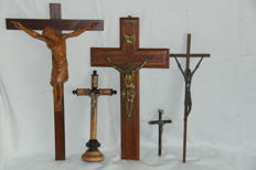 Lime wood Bronze Copper Crucifixes 19th century