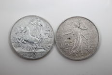 Kingdom of Italy – 2 Lire, 1908 and 1911 – Victor Emmanuel III (2 coins) – silver