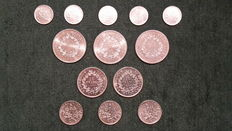 France – 1 and 50 Francs (lot of 13 coins) 1915 to 1978 – Silver