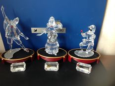 Swarovski- complete Masquerade series - Harlequin - Pierrot - Colombine - Displays (3) - Plaques (3).