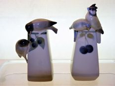"Porcelain Factory Metzler & Ortloff Brothers - ""BIRD PAIRS"" - two Art Deco porcelain vases"