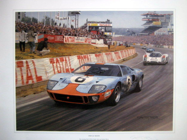 Fine Art Lithograph  Le Mans Winning Ford Gt  Ikcx