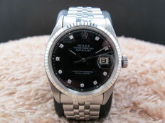 1968 ROLEX DATEJUST 1601 SS BLACK DIAMOND DIAL WITH FOLDED JUBILEE