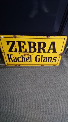 Enamel advertising sign - 'Zebra Kachel Glans'