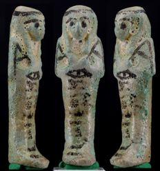 Egyptian faience Shabti of Ankh-ef-Amun - ca. 6,0cm c. 2,36 inches