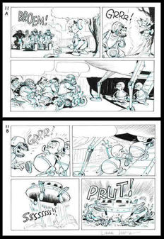 Jippes, Daan - Original page (p.11) - Donald Duck - Officer for a day - (1995)