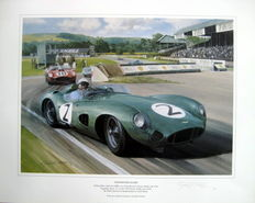 "Fine Art Print-""Goodwood Glory"" Stirling Moss/Aston Martin DBR1-Goodwood 1959-Artist: Graham Turner"