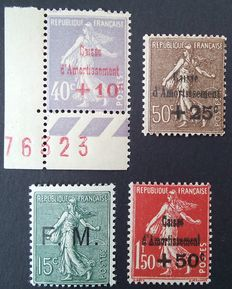 France 1901-31 – Selection of 4 stamps including 3 signed by Calves – Yvert no. 249, 267, 277 and FM3