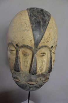 African mask with 3 faces - GALOA - Gabon