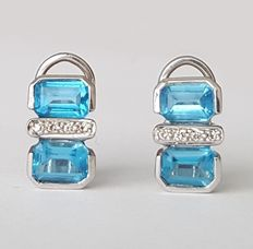Earrings set with topaz gemstones and brilliant-cut diamonds. No reserve price