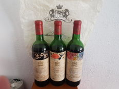 Chateau Mouton Rothschild; 1967 x 1, 1969 x 1 & 1970 x 1 - 3 bottles (75cl) total
