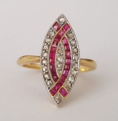 Ring art deco style with rubies and diamonds