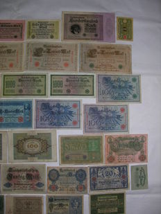 Lot with 40 old German Reich Bank Notes from approx. 1920 to 1930 (40-1)
