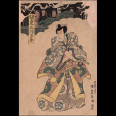 "Large original early woodblock print  ""Bandō Mitsugorō III as Oda Harunaga"" by Utagawa Kunisada (1786- 1865) - Japan -  1820s"