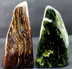 Pair of Fine Multi Color Tiger's Eye and green Nephrite polished Tumbles - 178 and 153mm - 2301gm (2)