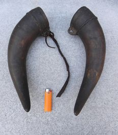 Pair antique powder horns