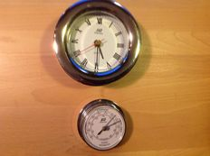 Chrome-plated ship's clock + barometer.
