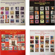 The Beatles  COMPLETE Set Of Four Illustrated Discographys With Singles And Sleeves From Europe & Around The World