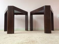 Unknown designer – set of two, geometric, wooden side tables.