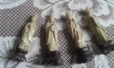 """Four character figurines carved out of stone known as """"soapstone"""" - China - Early 20th century"""