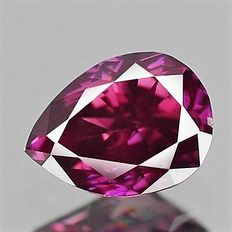0.17 ct pear cut diamond Fancy Dark Pinkish Purple VS-2