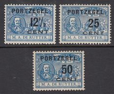 The Netherlands 1907 – De Ruyter stamp with error – NVPH P39af, P41f and P42f