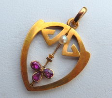 Art Deco pendant in 18 kt gold with ruby and pearl, no reserve