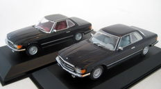 Minichamps - Scale 1/43 - Mercedes-Benz 350SL Cabrio & Mercedes-Benz 450 SLC Black