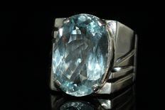 925 Silver men's ring set with sky blue aquamarine 12 ct - size 65