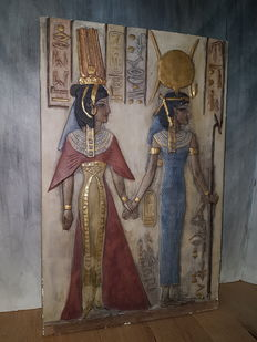 Rare plaque (9 kg) of Queen Nefertari with Isis – Egypt – approx. 1930