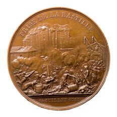France - Medal - Luis Philippe II, the storming of the Bastille and Dungeon of Vincennes, 1844, Paris ( vintage coining)