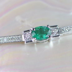 Elegant bracelet with 1.00 ct of VS diamonds and 3.40 ct of Columbian emeralds - approx. 17.5 cm length