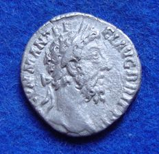 Roman Empire – Denarius of Commodus (180-193 A.D.), struck in Rome. Minerva with trophy (P481)