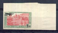 Monaco 1933 - 1.50 Fr. overprinted, non-hinged, edge of sheet. Signed Calves + digital certificate - Yvert PA no. 1a.