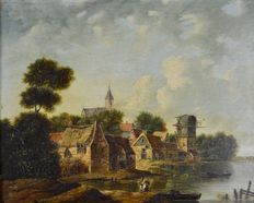 Unknown (18/19th century) - Figures on a riverside with village beyond
