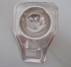 Silver plated Art Deco tea strainer, Art Krupp Milano, Italie, ca 1935