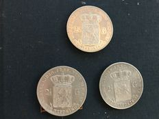 The Netherlands – 2½ guilder coins 1866, 1867 and 1871 Willem III – silver