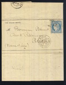 """France 1870 - """"Le Fulton"""" Balloon mail, travelling to Angers, left the 29th Oct 70, signed Calves + certificate."""