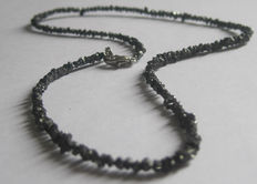 Black Diamond necklace, raw diamonds  24,96 ct  - silver lock