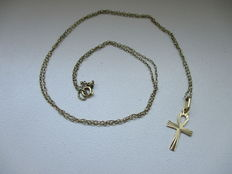 Necklace with pendant – 18 kt gold cross