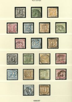 "Thurn und Taxis 1852/1858 – ""complete stamped collection"" from Michel 1 – 54 on Linder T album sheets"