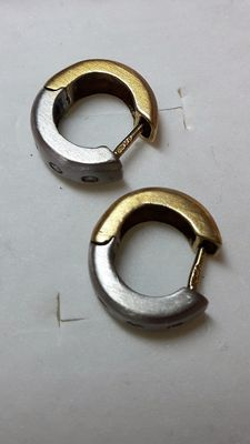 18 carat white and yellow gold earrings