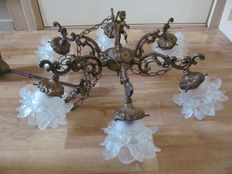 Large brass hanging lamp with 6 glass light points