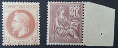 France 1862-1900 – Selection of 2 stamps, one of which is signed Calves – Yvert no. 26 and 113