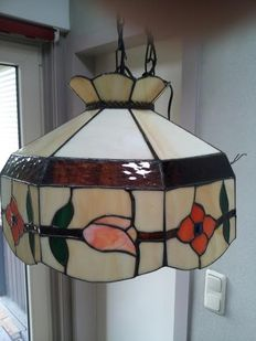 70s Stained glass hanging lamp in Tiffany style