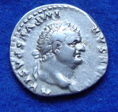 Roman Empire – Silver denarius of emperor Vespasian (69-79 A.D.), struck in Rome (P480).
