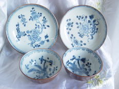 Two export porcelain bowls and saucers – China – 18th century