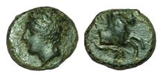 Greek Antiquity - Italy, Sicily, Panormos as Ziz - AE (13mm; 1,90g,), c. 336-330BC - Head Apollo / Forepart horse - CNS 2