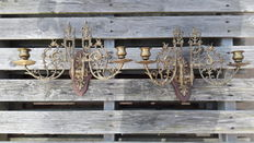 Set Gothic brass candle holders with dragons