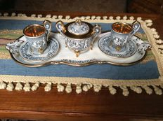 Ceramic relief gold plated coffee set - Capodimonte